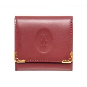 Cartier Burgundy Leather Coin Case Wallet